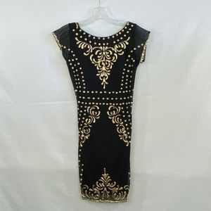 HOLT Black & Gold Body con Dress - L